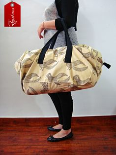 Everyday Use Large Bird Motif Block Printed Bag - #TravelBag - #LargeWeekenderBag - #ShoppingBag etsy.me/1s4gubK