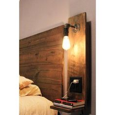 Size is : 29 H x 7 1 4 W x 10 D Shelve X D) The floating nightstand design is a great space saver .Blending the look of rustic with an industrial pipe design, the nightstand is a great addition to any room. The edison style bulb is included. Decor, Home Diy, Rustic Decor, Diy Headboard, Wall Lights, Rustic Bedroom, Rustic House, Diy Home Decor, Floating Nightstand