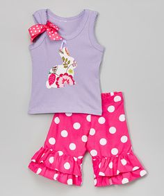 Another great find on #zulily! Lavender Bunny Tank & Ruffle Shorts - Infant, Toddler and Girls #zulilyfinds