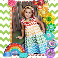 Girls Chevron Dress  Rainbow Dress  Tiered by PalmTreePrincess, $44.95