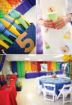Twins Super Sized Rainbow Art Birthday Party