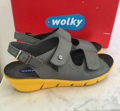 Wolky Star Grey & Yellow Leather Platform Wedge Sandals Shoes EUC  40   Clothing, Shoes & Accessories, Women's Shoes, Sandals & Flip Flops   eBay!