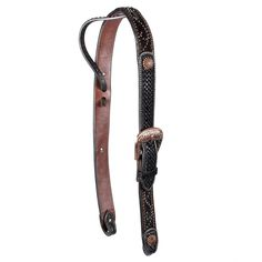 Teskey's Black Hair On with Copper Pinwheel Conchos Belt Style Headstall