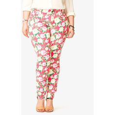 FOREVER 21+ PLUS SIZES Rose Print Skinny Jeans ($25) ❤ liked on Polyvore