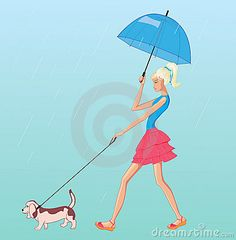 Vector girl walk with dog in the rain by Colorvalley, via Dreamstime