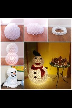 Make A Snowman From Plastic Cups diy crafts christmas easy crafts diy ideas christmas crafts christmas decor christmas diy christmas crafts for kids chistmas tutorials christmas crafts for kids to make Noel Christmas, Diy Christmas Gifts, Christmas Projects, All Things Christmas, Christmas Decorations, Christmas Ornaments, Christmas Ideas, Christmas Lights, Outdoor Christmas