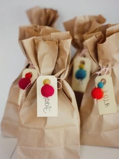 Simple Party Ideas - White Gunpowder, twine, felt balls and tags