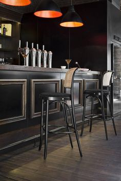 High beech barstool N. Back Bar Design, Pub Design, Modern Design, Pub Interior, Bar Interior Design, Modern Restaurant Design, Restaurant Bar, Speakeasy Decor, Indoor Bar