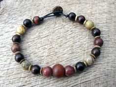 Mens surfer bracelet, jasper, horn, bone and wood beads, handmade beaded bracelet, on strong cord, toggle and loop clasp, one of a kind