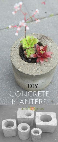 These DIY concrete garden planters are simple to make in just a weekend and with. These DIY concrete garden planters are simple to make in just a weekend and with molds made from materials you may already have around the house. Diy Concrete Planters, Concrete Crafts, Concrete Garden, Diy Planters, Garden Planters, Planter Pots, Concrete Cement, Recycled Planters, Outdoor Planters