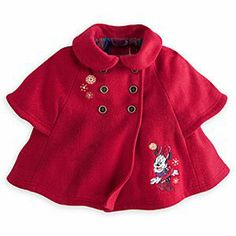 Disney Minnie Mouse Holiday Cape   Disney StoreMinnie Mouse Holiday Cape - Wrap your little one up for the holidays in this Minnie Mouse Cape. Golden snowflakes flutter around Minnie on the warm woolen outer layer while the plaid lining matches the big bow on the back, and the one on Minnie's head.