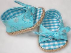 American Girl Doll Clothes -- Turquoise Aqua Gingham Open Toe, Tie On Espadrilles for 18 inch American Girl doll