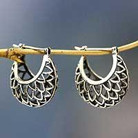 Sterling silver hoop earrings, 'Lotus Halo' - Artisan Jewelry Sterling Silver Hoop Earrings