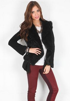 Minnie Rose Cashmere Duster with Fur Vest