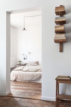 Books arranged as to make it hard to see what they are and even harder to reach. Nice decor though! Bedroom.