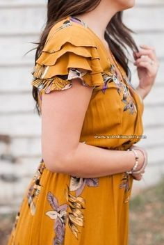 Floral maxi dress with front opening Button-down Ruffle Sleeves Elastic waist Rayon Source by summer dresses Kurti Sleeves Design, Sleeves Designs For Dresses, Kurta Neck Design, Dress Neck Designs, Sleeve Designs For Kurtis, Kurta Designs, Saree Blouse Designs, Floral Maxi Dress, Boho Dress
