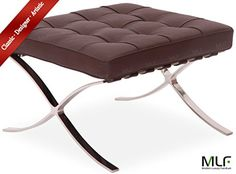 Special Offers - MLF Knoll Barcelona Ottoman/Stool (5 Colors). Superior Craftsmanship. Italian Leather High Density Foam Cushions & Seamless Visible Corners. Polished Stainless Steel Frame Riveted with Cowhide Saddle Straps Resistance to Chipping Corrosion & Rust. (Dark Brown) - In stock & Free Shipping. You can save more money! Check It (June 12 2016 at 11:08AM)…