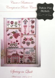 SARA GUERMANI Spring Sampler Counted Cross Stitch Pattern~Spring Sampler~Italian Cross Stitch Design~Floral Cross Stitch~Garden embroidery