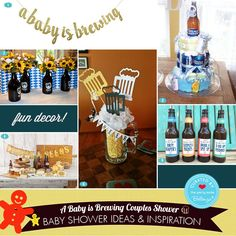 "How to Plan a Fun ""A Baby is Brewing"" Beer Themed Couples Shower. Your Complete Guide to Decorations, Favors, Invitations, and Comfort Food to Serve Guests. Beer Party Decorations, Mug Cupcake, Oktoberfest Beer, Party Supply Store, Couples Baby Showers, Shower Inspiration, Baby Shower Diapers, Couple Shower, Beer Mugs"