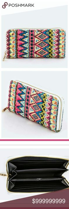 🍁 2X Host Pick!! Clearance! Tribal Print Wallet Read last photo for measurements and details. Bags Wallets