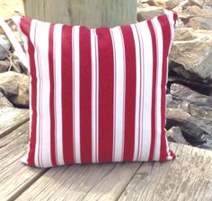 Salute 16x16 Outdoor 18x18 Red Bold Striped Decorative Pillow Cover, Pillow Sham, Throw Pillow Slipcover, Cushion Cover