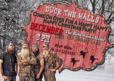 5 X 7 Printable Duck Dynasty Christmas Invitation by NeatAndSweetDesigns...Duck Dynasty Christmas Card...Duck Dynasty Party...Duck dynasty christmas..duck dynasty holiday party
