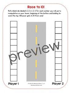 Print a free Race to 20 math game for preschool, kindergarten, or first grade…