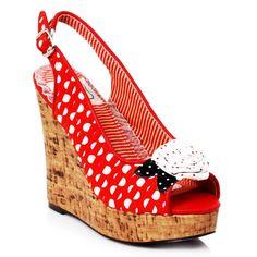 Bettie Page 'Josie' Polka Dot Wedge Heels - Red [Special Order]