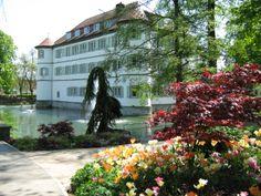 Das Wasserschloss in Bad Rappenau. Der an der Babstadter Straße in einem schönen Park gelegene dreigeschossige Bau wurde im Jahr 1601 anstelle einer alten Wasserburg durch Eberhard von Gemmingen fertiggestellt.