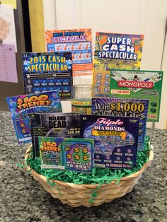 Scratch Off Lottery Ticket Basket (including a good luck money candle) – Gift Basket Ideas Themed Gift Baskets, Raffle Baskets, Lottery Ticket Gift, Scratch Off, Projects To Try, Baby Shower, Diy Crafts, Candles, Money