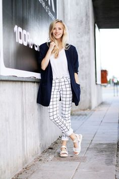 Black and White Windowpane Print Pants