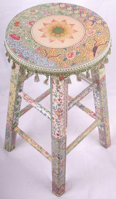 Moroccan Decoupage Stool. Stunning Embellishment.