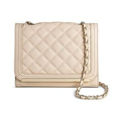 Women's Quilted Crossbody Handbag with Flap Closure Blush (44 NZD) ❤ liked on Polyvore featuring bags, handbags, shoulder bags, blush, chain shoulder bag, handbags crossbody, shoulder handbags, over the shoulder handbags and hand bags
