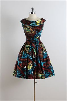 Vintage 1950s dress.  Stained glass pattern, brushed cotton