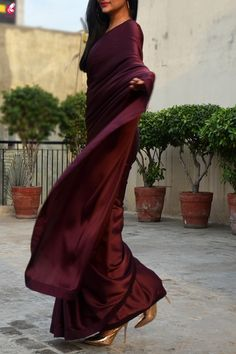 Buy Wine Satin Saree Online in India Dress Indian Style, Indian Dresses, Indian Outfits, Pakistani Dresses, Saree Draping Styles, Saree Styles, Blouse Styles, Saree Floral, Formal Saree