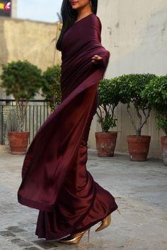 Buy Wine Satin Saree Online in India Saree Draping Styles, Saree Styles, Blouse Styles, Indian Attire, Indian Outfits, Indian Wear, Saree Floral, Formal Saree, Satin Saree