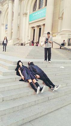 Planking at the @MetropolitanMuseumofArt  #blondegoesNY #shoot #fashionmeetsart