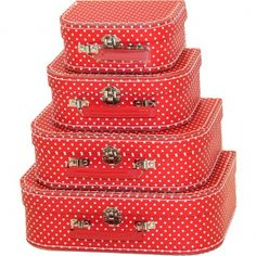 Red spotted suitcase set