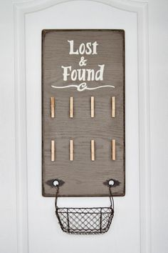 Lost & Found Board Sign - Laundry Wall Decor Organization for Lost Socks - Dark Taupe with Espresso Distressing and Ivory Text via Etsy