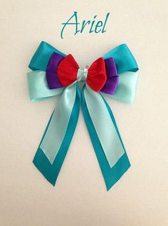 Disney inspired Ariel princess hair bow with dinglehopper