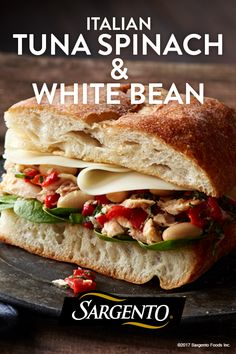 Italian Tuna, Spinach & White Bean Sandwiches- I used pimiento stuffed olives instead of roasted red peppers and regular sliced sourdough bread.So good and very filling Healthy Cooking, Healthy Eating, Cooking Recipes, Healthy Recipes, Yummy Recipes, Recipies, I Love Food, Good Food, Yummy Food