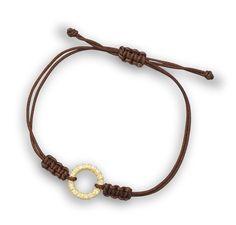 Adjustable Brown Cord Bracelet with 14 Karat Gold Plated CZ Circle