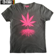 NEW cannabis leaf roots T Shirt Neon Pink marijuana RGoblin Womans exclusive weed apparel hand crafted bespoke design orignal by artist