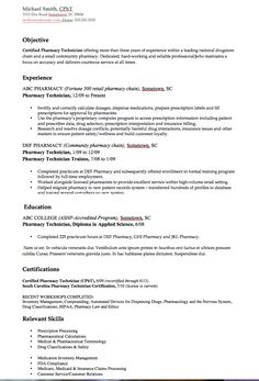Technician Resume Pharmacy Technician Resume Examples  Medical Sample Resumes