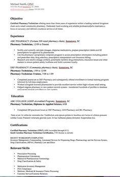 objective for pharmacy technician resume