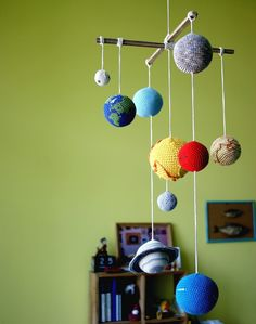 Crocheted planet mobile at YarnBall Stories on Etsy