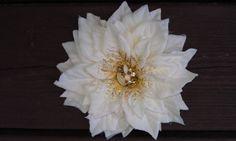 Hair Clip Barrette Fascinator White Poinsettia by GaleFridays