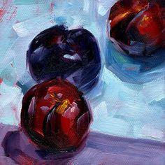 """Three Plums"" Still Life Fruit Painting by MarinaPetroFineArt, $75.00  https://www.etsy.com/listing/99494266/three-plums-still-life-fruit-painting"
