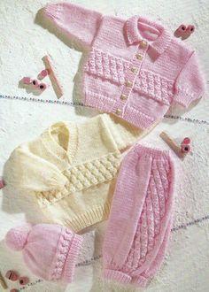 """Baby Knitting Pattern Cardigan Sweater Pants & Hat Aran 16-24"""" 196:"""