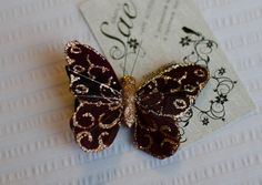 Brown and Bronze butterfly hair clip on Etsy by Simply Sae's